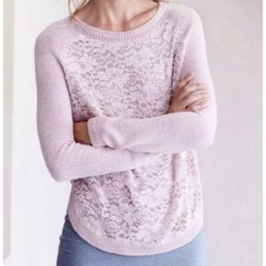 Knit and knotted Anthropologie lace front sweater
